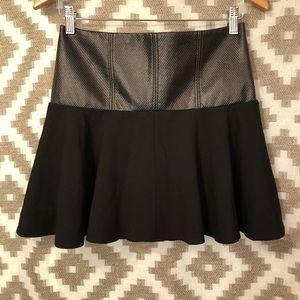 Tibi Black Faux Leather Flared Mini Skirt